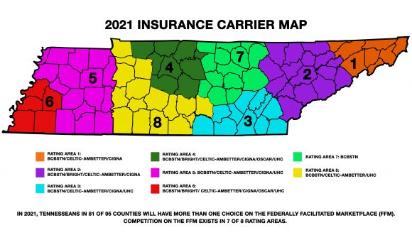 Federal insurance marketplace carriers now competing in 81 of 95 Tennessee counties